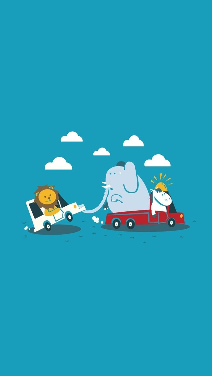 Elephant Car Tow. :) Tap to see more Cute & Funny Animals Wallpapers for iPhone - @mobile9 / #cartoon #funny #animals