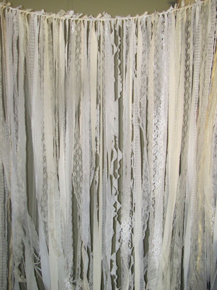 Tattered Fabric Wedding Garland Banner Shabby Chic Farmhouse Vintage Romantic Prairie Rustic Barn
