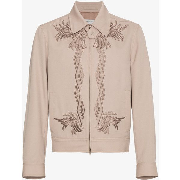Dries Van Noten Wool Valerian Embroidered Bomber Jacket (45,215 THB) ❤ liked on Polyvore featuring men's fashion, men's clothing, men's outerwear, men's jackets, men's embroidered bomber jacket, mens wool jacket, mens wool outerwear, mens embroidered jacket and mens beige jacket