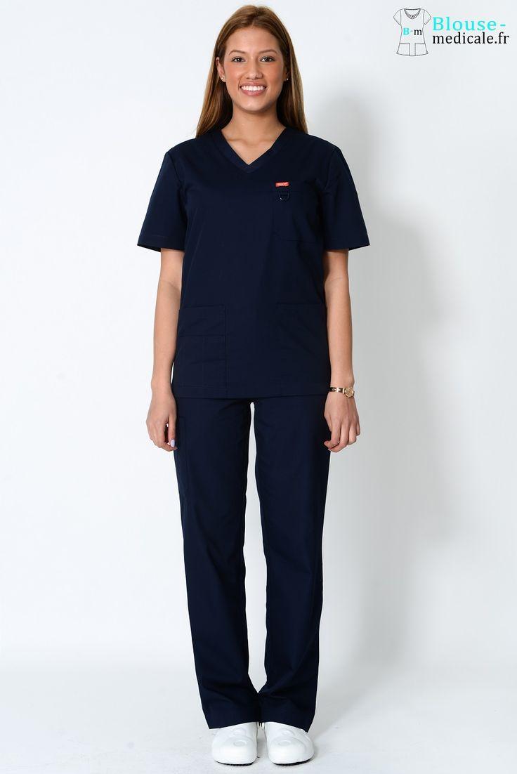 tenue médicale unisexe Orange bleue marine