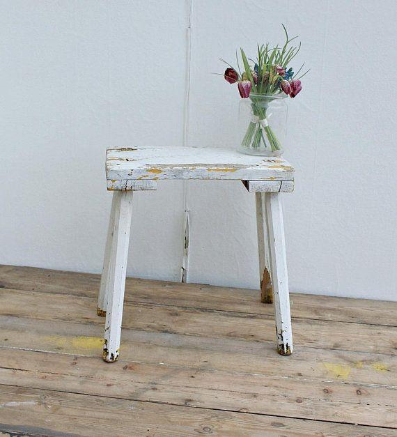 Wooden Stool Milking Stool Painted Furniture Vintage Stool