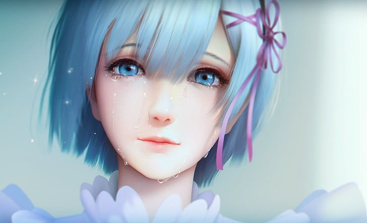 female anime character with short blue hair wallpaper, Re:Zero Kara Hajimeru Ise…