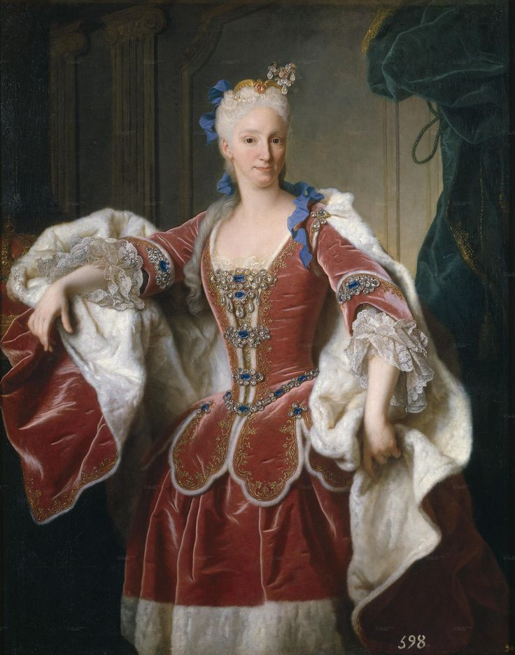 The ambitious Elisabeth Farnese, niece and stepdaughter of Francesco Farnese, Duke of Parma. Elisabeth Philip married King of Spain on 24 December 1714; she quickly proved a domineering consort, and influenced King Philip to make Cardinal Giulio Alberoni the Prime Minister of Spain in 1715.  I love the peplum of the jacket
