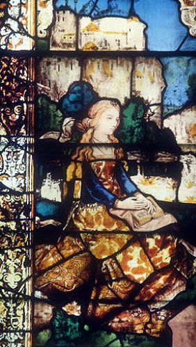 Mary Magalene, detail from sixteenth century central lancet in Lady Chapel, Lichfield Cathedral, Staffordshire, England