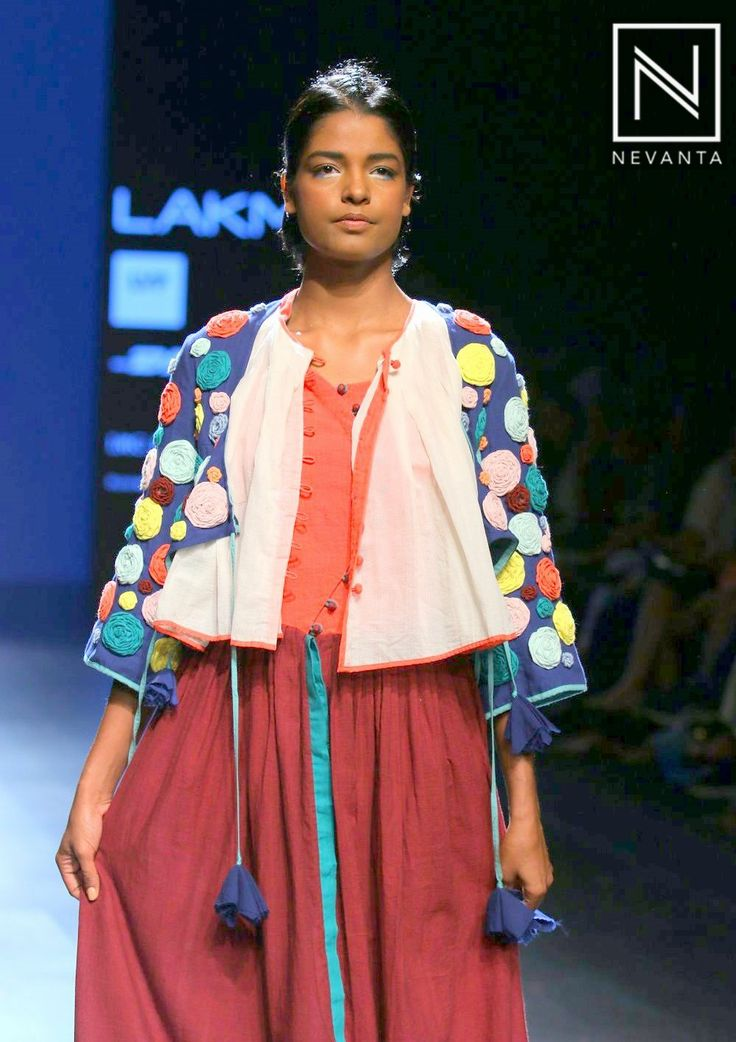 A #woollen detailed #jacket sported over a maroon #kurti dress by #Kasha