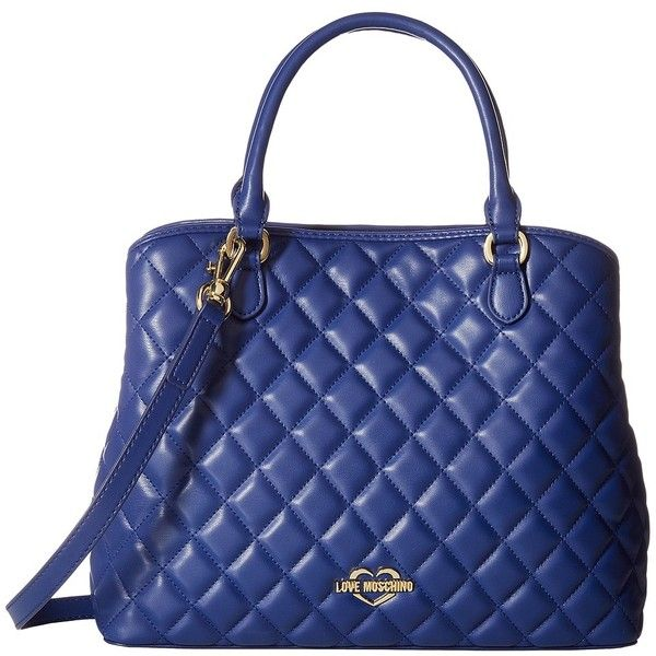 LOVE Moschino Super Quilted Tote (Navy) Tote Handbags ($275) ❤ liked on Polyvore featuring bags, handbags, tote bags, vegan tote bags, shoulder strap purses, handbags totes, woven tote bags and zip top tote