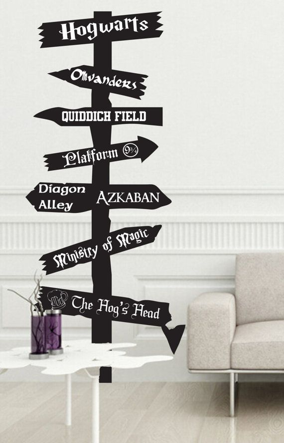 Harry Potter inspired road sign Vinyl wall Decal Fantasy Hogwarts Ministry of Magic Azkaban Olivanders 9 3/4 Quiddich snitch Dumbledore