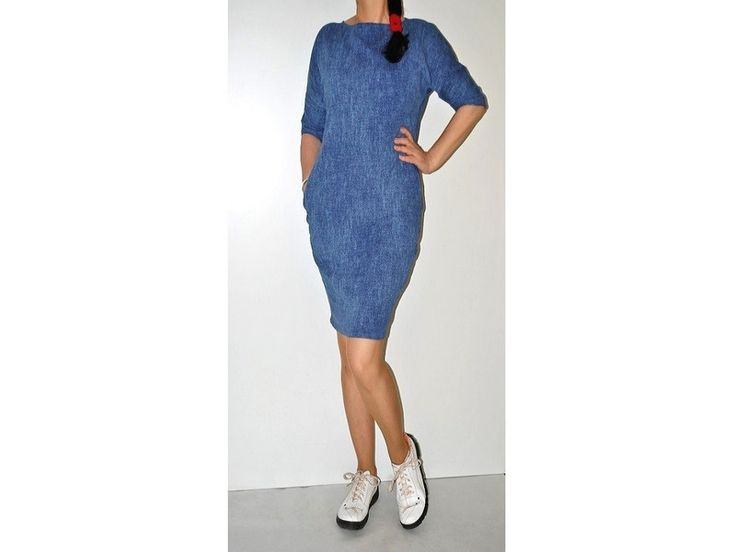 38-50 LAYLA JEANSOWA SUKIENKA BAWEŁNIANAelastyczna - cottonsunrise - Sukienki