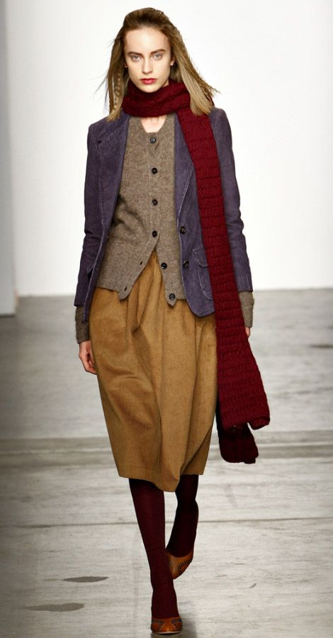 Fall Winter 2011 2012 collection from A Detacher. Blazer in purple/blue works with rich red scarf and ochre yellow skirt