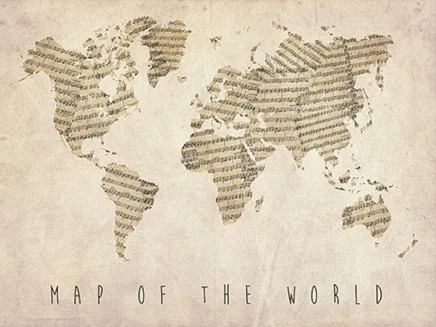 Or this map, made from old sheet music | 25 Gifts Musicians Will Want To Keep For Themselves