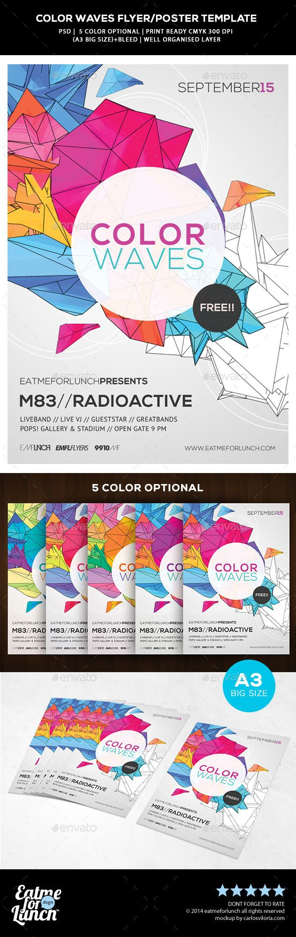 Futuristic Abstract Flyer/Poster  Color Waves — Photoshop PSD #colorful #technicolor • Available here → https://graphicriver.net/item/futuristic-abstract-flyerposter-color-waves/9613335?ref=pxcr