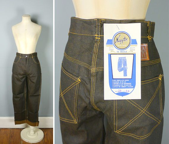 NAYYTEX jeans  50s 60s DEADSTOCK dark blue/black yellow