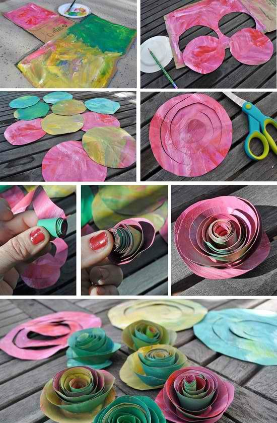 Paper flowers w/ different colors. Thinking somewhere in kitch/living room, maybe bathroom