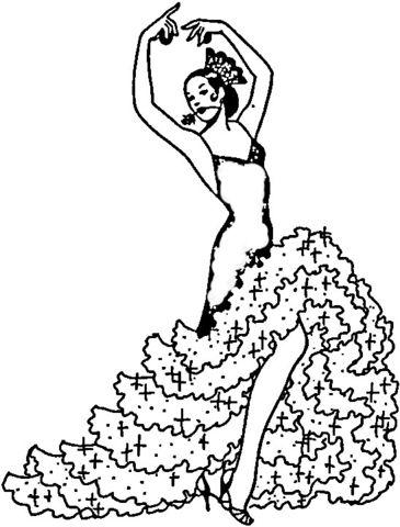 Bailarina de Flamenco Dibujo para colorear en 2019