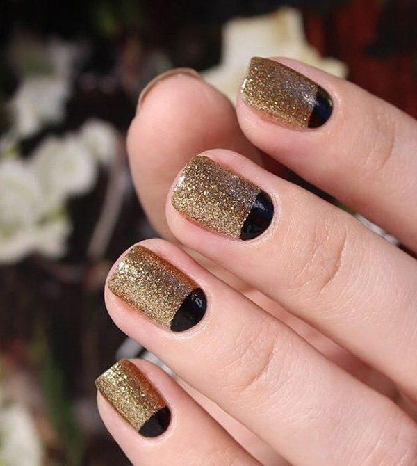 If you want to look a bit elegant for a special day, you could choose to go with full on gold glitters. Then have some black half moon designs along with it. The black will immediately balance the look of the design so it won't appear overwhelmingly glittery.