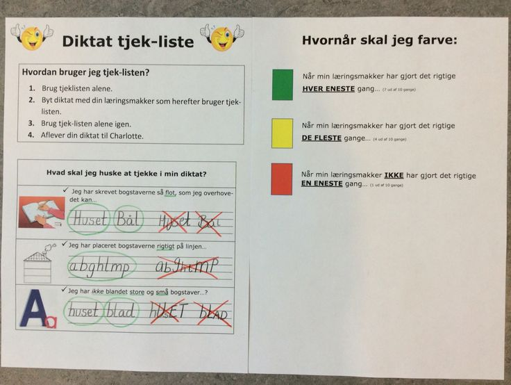 Tjekliste før aflevering af diktat - med fokus på at bogstaverne er tydelige og let-læselige før aflevering...