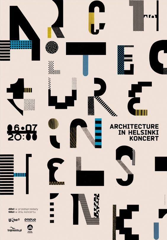 Architecture in Helsinki poster. Abstract geometric letterforms using blocks and patterns.