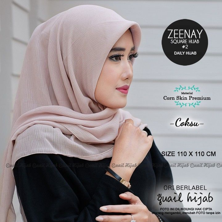 Zeenay 2 Coksu By Quail Hijab Bahan Corn Skin Premium Harga 58rb Cantikkan Harimu Dengan Produk Original Dari Quail Hijab Mau Har Hijab Produk Kecantikan