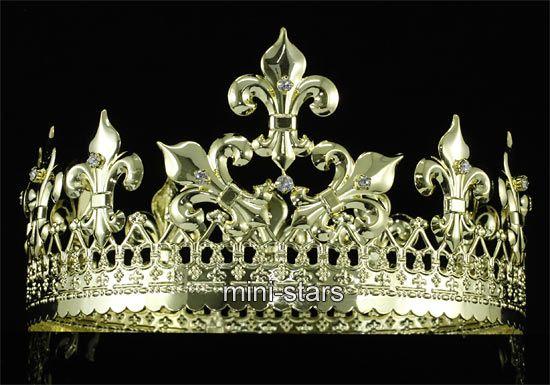 Men's Imperial Medieval Fleur De Lis Gold King Crown T1715 at My Jewels