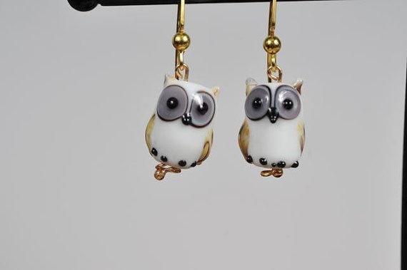 White Owl Earrings by Originalsbydenise on Etsy, $15.00 @Kim Cauthen
