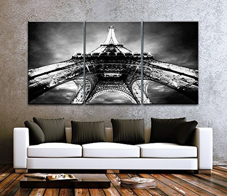 Large, Black And White, Set Of Eiffel Tower Framed, Canvas Print Wall Decor