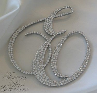 Toppers With Glitz Single Initial Cake Topper Sidney - Crystal, Cream Pearl