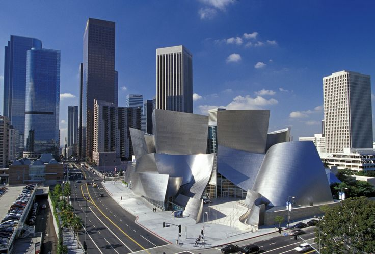The Walt Disney Opera House built by Frank Gehry in Los Angeles in 2003 highlights his signature contemporary style of sweeping metallic surfaces. The interior features one concert hall with excellent acoustic qualities due to its spatial and material qualities.