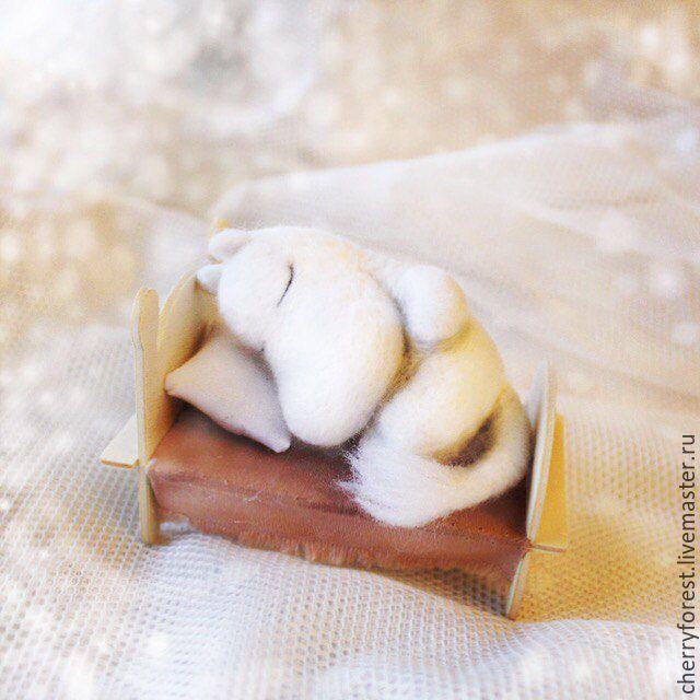 Купить Муми-тролль спящий (игрушка) - белый, муми-тролли, Муми-тролль, ручная работа