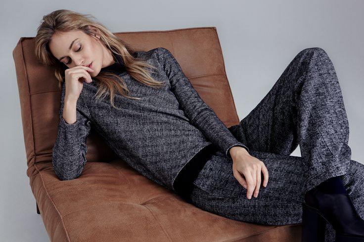 Patterned charcoal jumpsuit with full length sleeves by Backstage.