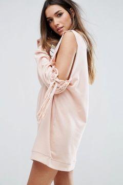Missguided Cold Shoulder Gathered Sleeve Jumper Dress - Pink #modasto #giyim #moda https://modasto.com/missguided/kadin/br40763ct2
