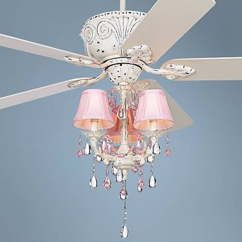 The Casa Deville™️ Pretty in Pink ceiling fan features a lovely antique-look finish and pink shades with beaded accents.