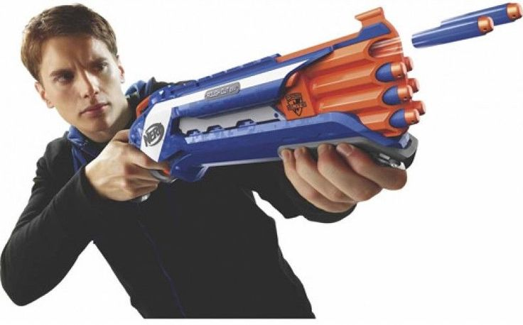 Nerf Soft Dart Gun Toy N-Strike Gun Rifle Rough Cut 2X4 Double Barreled 8 Darts #Nerf