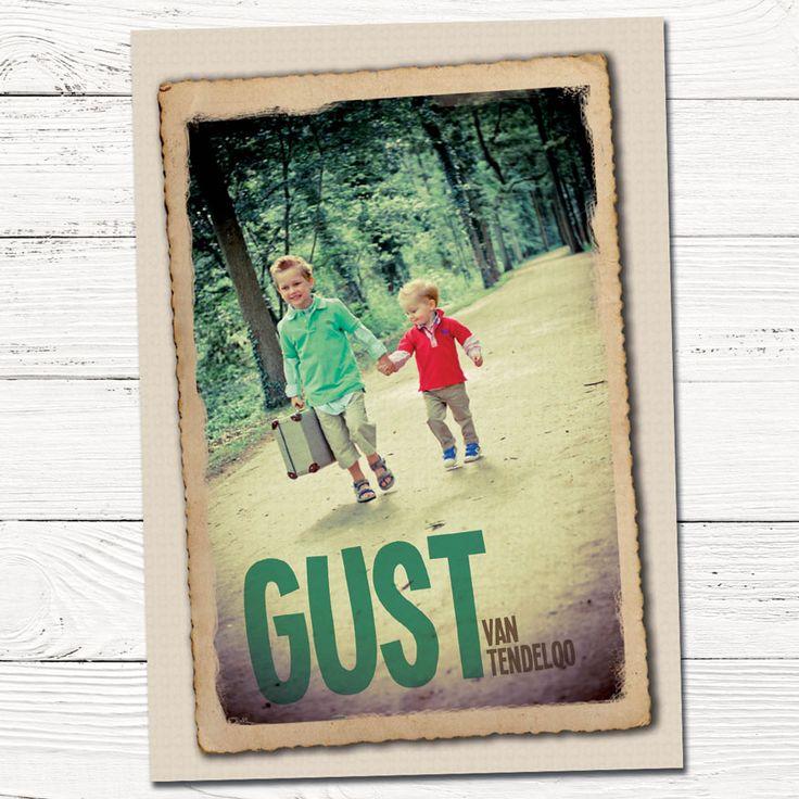 Geboortekaartje met foto jongen   broer   koffer   vintage   bos   grafisch   ontwerp   babykaartjes  