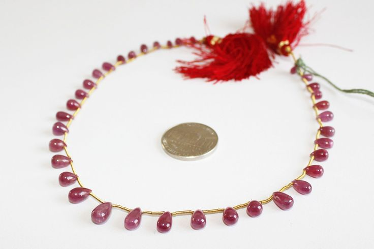 60% off Super Sale on  Good Quality Natural Ruby Drops, 6 to 10 mm Smooth Drops, Genuine Ruby Gemstone Beaded Drops Strand 11.5 inches Long by colorvilla on Etsy