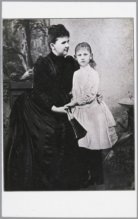 Dutch Queen Regent Emma and her daughter  Wilhelmina, ca. 1891. Queen Emma is still in full mourning for her husband King Willem III, who died november 1890.