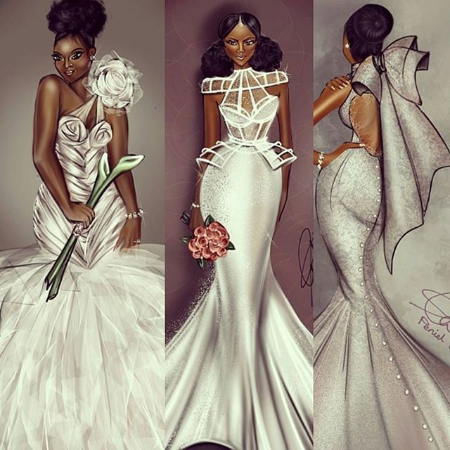Sharing some of my favorite dresses by the London based fashion illustrator @peniel_enchill .. her work is amazing and so is her inspirational story. . What a keepsake to have your dress turned into art... #eventvendorsuk