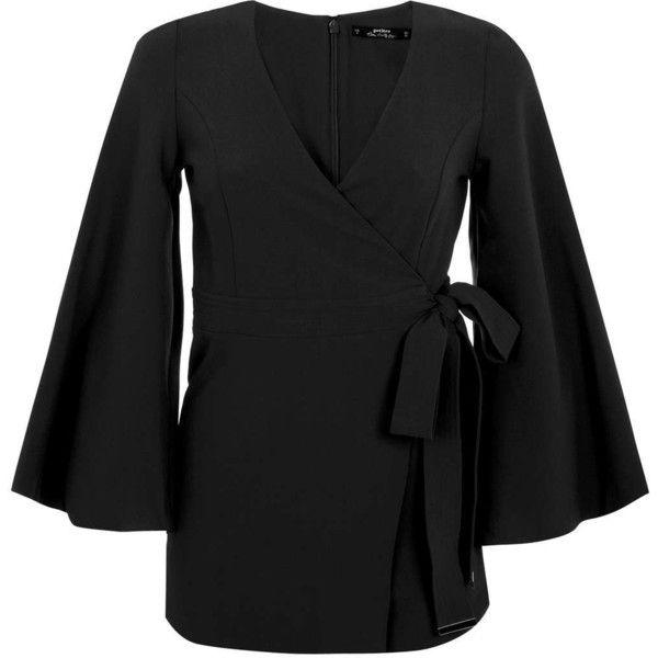 Miss Selfridge Petites Black Kimono Playsuit ($12) ❤ liked on Polyvore featuring jumpsuits, rompers, black, petite, miss selfridge, playsuit romper and wrap romper