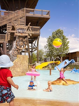 JW Marriott in San Antonio - A lazy river and rapids come off water slides, and there's a splash area and smaller slides taht are just the right size for the under-5 set.  21 properties in 13 states some with drop-off children's program for kids 4-12