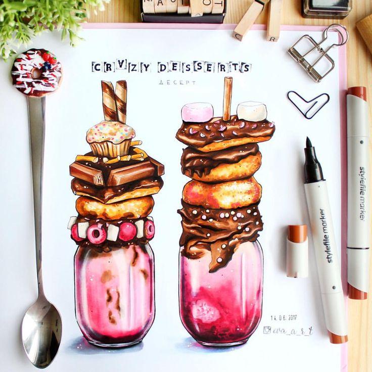 """Е.В.А. рисунки и скетчи (@eva_a_r_t) sur Instagram : """"Crazy десерты прям набирают обороты сейчас в кафе А у меня вопрос: хоть кто-нибудь доедал это…"""""""