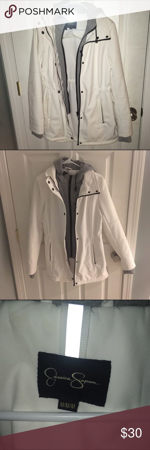 jessica simpson long jacket white jacket with grey hoodie attached! very comfy and super cute Jessica Simpson Jackets & Coats