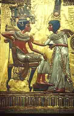 Panel from the back of Tutankhamun's golden throne, discovered in his tomb in the Valley of the Kings