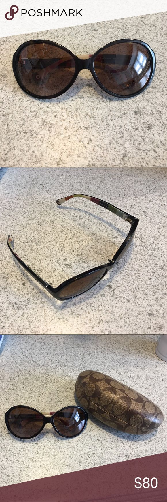 Authentic Coach Sunglasses Authentic Coach Sunglasses comes with case and Coach shopping bag. Lenses both have some scratches on them, but still can see thru them good. Inside of ear pieces are multi colored. Make an offer! Coach Accessories Sunglasses