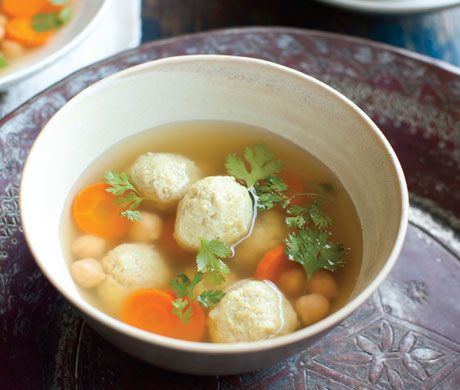 """Persian """"Matzoh Balls"""" with Chickpeas and Chicken (Gondi) from """"The New Persian Kitchen"""" by Louisa Shafia"""