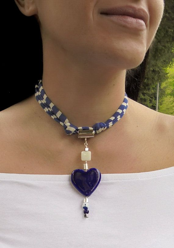 Blue and white statement necklace heart pendant handmade by DenDesign jewels $ 36.90