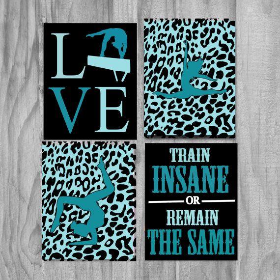 gymnastics gifts cute wall art decor quote sale kids girls print cheetah