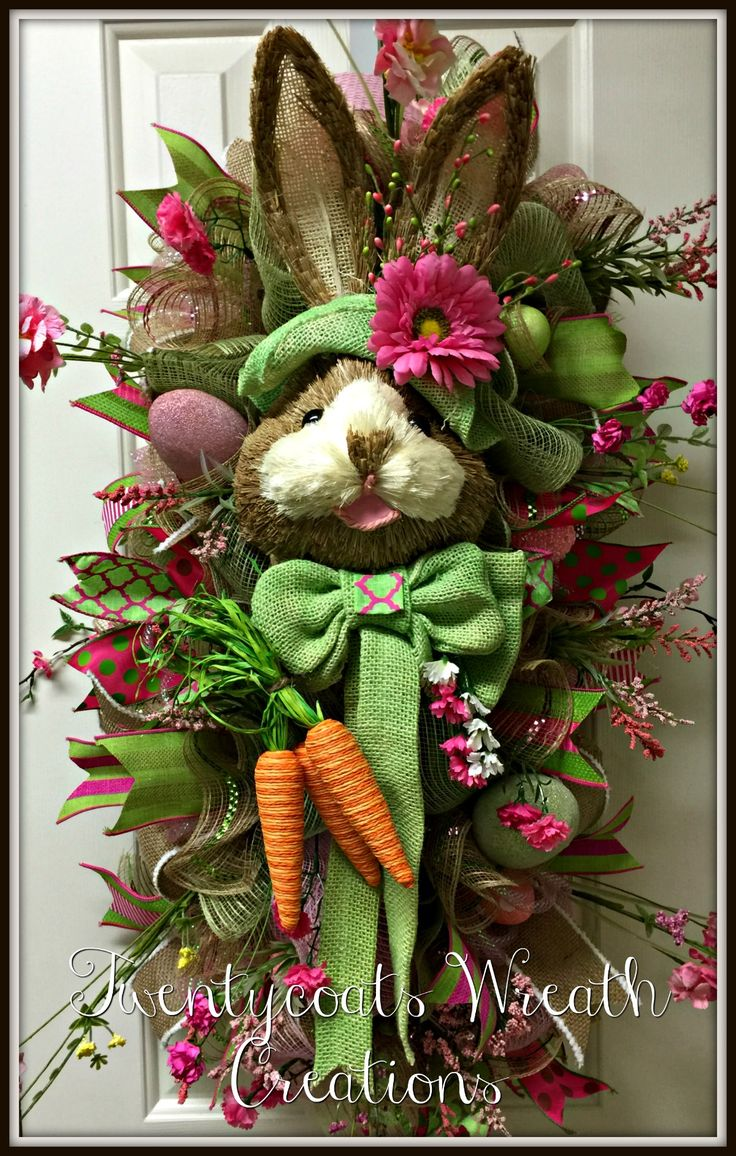 Easter bunny deco mesh and burlap swag with floral and ribbon accents.  Twentycoats Wreath Creations (2016)