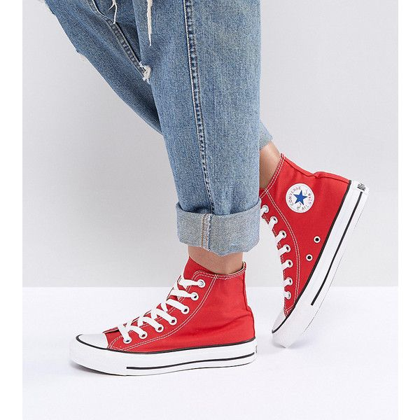 Converse Chuck Taylor High Trainers In Red ($90) ❤ liked on Polyvore featuring shoes, sneakers, red, converse shoes, high top trainers, red trainers, converse trainers and red shoes