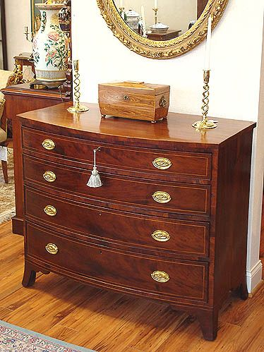 Federal Style Furniture | An American Federal Period Mahogany Bowfront Chest of Drawers Inlaid ...