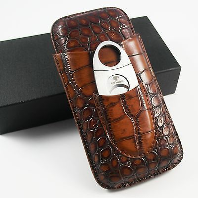 COHIBA Brown Leather Croco Pattern 3 Tube Cigar Holder Case with Cutter Set