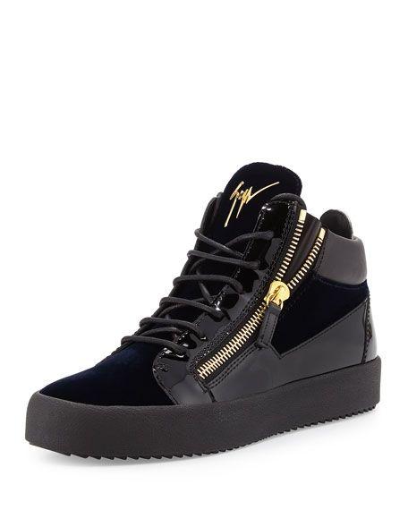 ff03081b6d13e GIUSEPPE ZANOTTI Men'S Velvet & Patent Leather Mid-Top Sneaker, Navy. # giuseppezanotti #shoes #